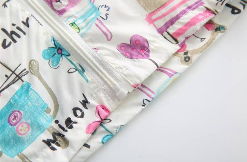 CUte Rabbit Graffiti Kids Jacket For Girls Trench Coats Spring Sunscreen Clothing Comfortable Girl Jackets Girls Outerwear Coats (7)