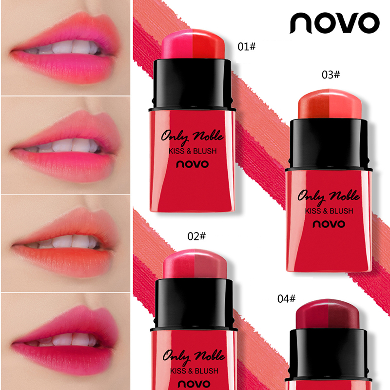 US $2.67 36% OFF|NOVO Two color lip cheeks stick dual use blush cream rouge stick gradient lipstick-in Blush from Beauty & Health on Aliexpress.com | Alibaba Group