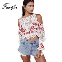 FANTFUR Embroidery Shirts Blouses For Women Lace Ethnic Embroidery Causal Loose Top Crop Blusas