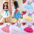 2014 Summer  Hot Selling Children Girl's O'Dell Rainbow Striped Dress