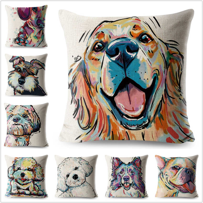 Animal Cushion Cover Dog for Children Decorative Covers for Sofa Throw Pillows Car Chair Home Decor Pillow Case Almofadas