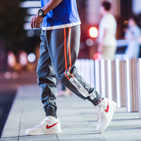 New 2018 autumn fashion striped patchwork harem pants men elastic waist ankle banded pants streetwear jogger pants men XXK21