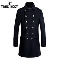 TANGNEST/2018 г. Модные Для мужчин длинная куртка двубортный необходимо Для мужчин пальто удобные пальто черный Темно-синие Размеры M-XXXL mwn181