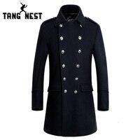 TANGNEST 2018 Mode Männer Lange Jacke Zweireiher Notwendig Männer Mantel Komfortable Mantel Schwarz Marineblau Größe M-XXXL MWN181