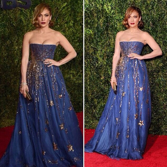 a7a0b7d1d0cf Jennifer Lopez Strapless Celebrity dress A-line Fashion Gold Sequined  Beaded Blue Long Dubai Evening Party Dress