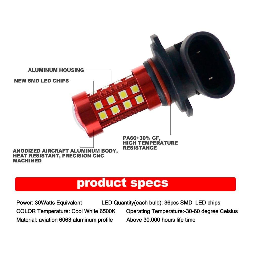 DARKEY LED H4 H7 H11 H8 H9 DRL Tågelygter LED 9005 9006 H10 H16 - Billygter - Foto 3