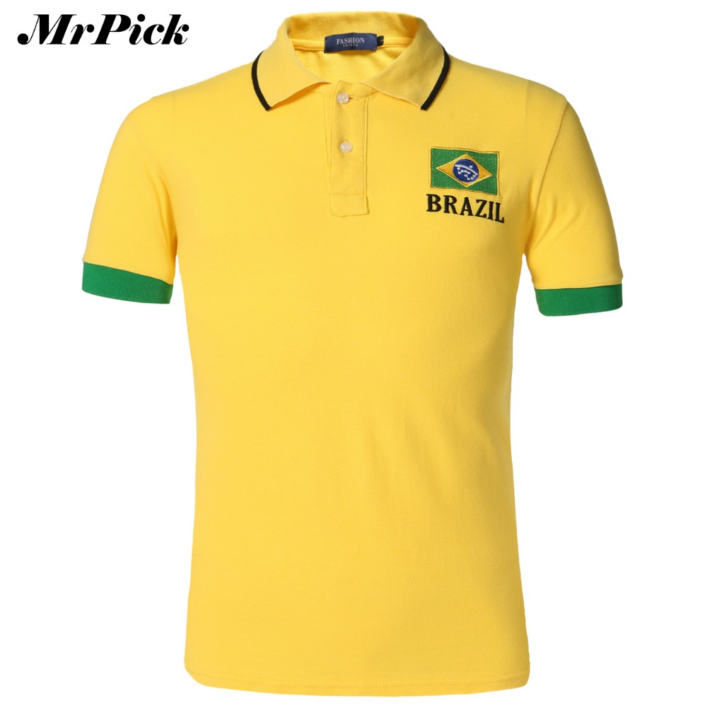 Koszulka letnia męska polo 2015 flaga styl czarny żółty biały haft plus size Oddychająca bawełniana koszulka polo E5036