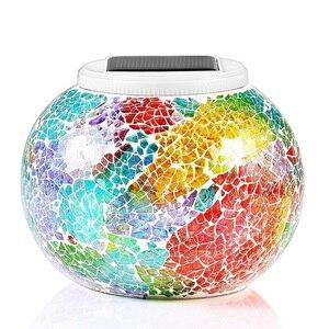 Image 4 - تعمل بالطاقة الشمسية فسيفساء كرة زجاجية مصابيح حديقة مقاوم للماء في الهواء الطلق أضواء الحديقة الشمسية الملونة تغيير ساحة شرفة مصابيح