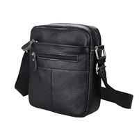 Business Retro Genuine Leather Men's Shoulder Bag High Quality Litchi Stria Pattern Cow Leather Man Crossbody Bags