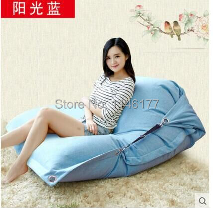 ФОТО Blue Sunshine Beanbag beanbag chair folding simple cotton Double beanbag sofa bed tatami bed computer Ywxuege no filler