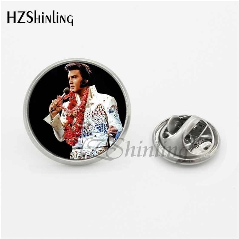 2017 Baru Kedatangan Elvis Presley Kerah Pin Kaca Buatan Tangan Dome Musik Rock Singer Perhiasan Stainless Steel Kerah Pin Bros