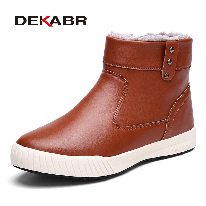 DEKABR Fashion Men Chelsea Boots Pu Leather Men Autumn Winter Boots Handmade Waterproof Ankle Boots Casual Shoes Big Size 39~45