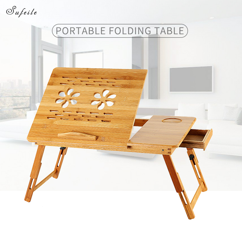 Imagen de SUFEILE Portable laptop table Folding bamboo computer desk Pregnant woman dining table Computer desk with fan radiator D50