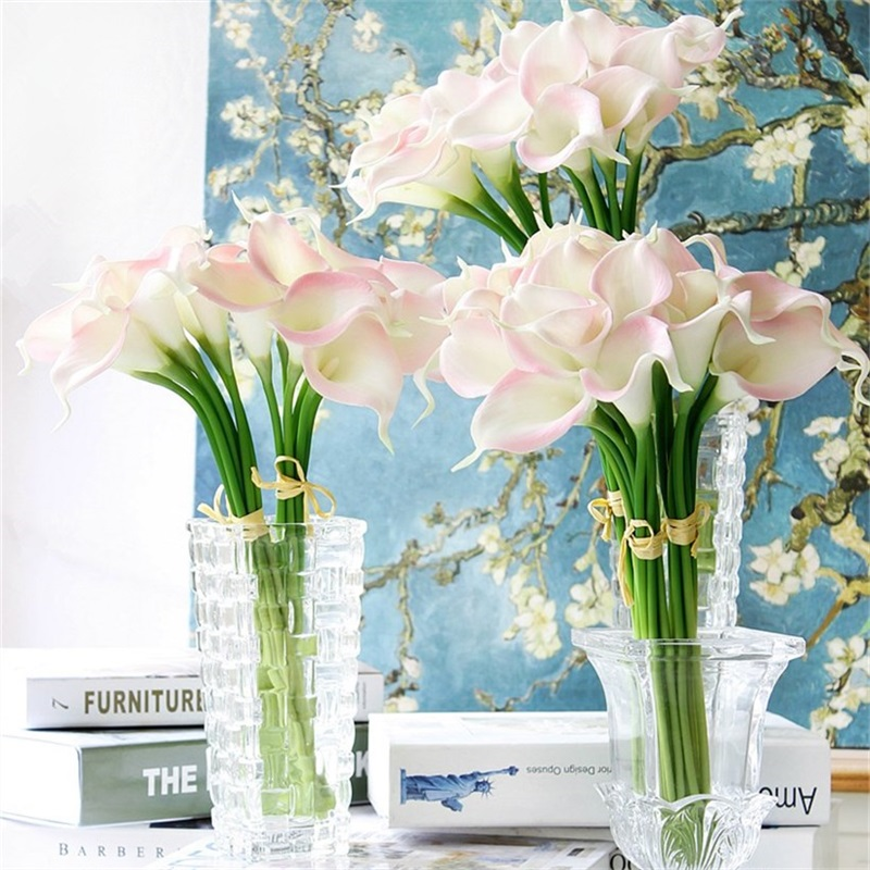 30 unids/lote Real Touch PU Calla Lirio Artificial Decorativo Flores Ramo Para W