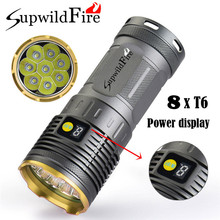 20000LM 8 x XM-L T6 LED Power & Mode Digital Display Hunting Flashlight Waterproof Super Bright Torch Lamp Bicycle Light