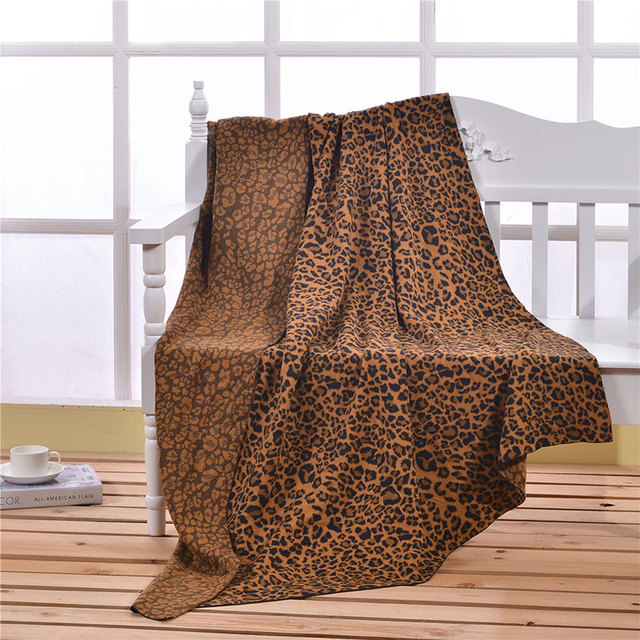Fashion Leopard Print Knitted Blankets For Beds Super Soft Warm