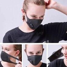 Унисекс Губка Пылезащитная PM2.5 загрязнения Половина лица рот маска с дыхательным клапаном широкие ремни Моющиеся Многоразовые муфельный респиратор