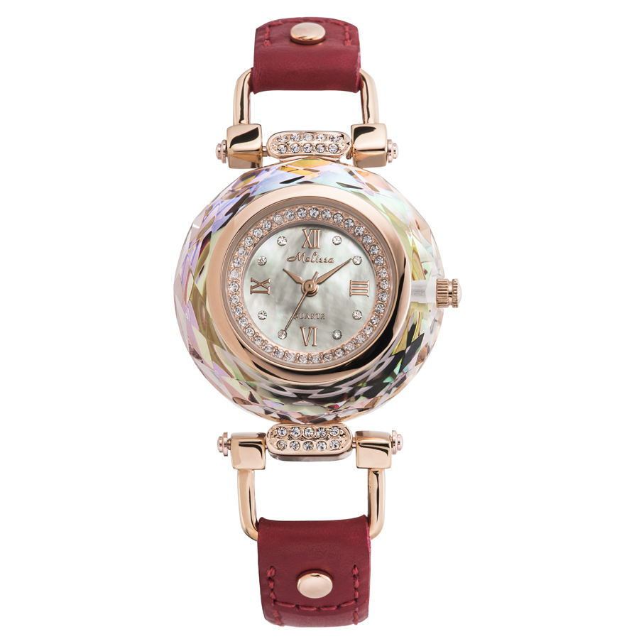 Luxury Melissa Lady Women's Watch Mother Pearl Luxury Rhinestone Crystal Fashion Hours Dress Bracelet Leather Birthday Gift