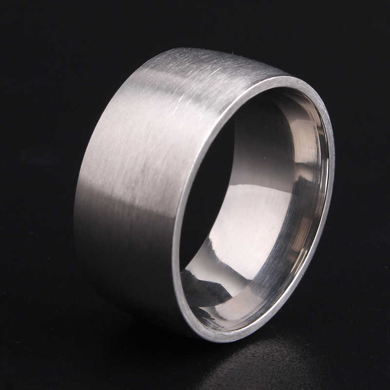 free shipping 10mm Silver Matte Smooth 316L Stainless Steel wedding rings for men women wholesale