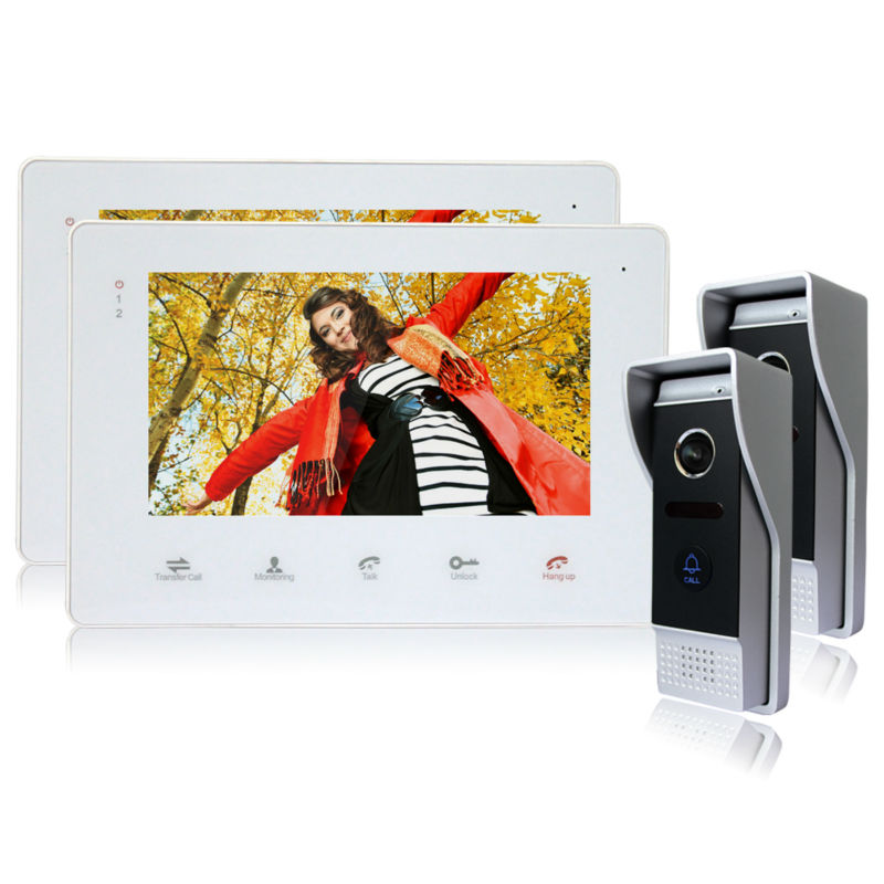 Homefong Home 7 Inch TFT Monitor Video Door Phone Intercom System Night Vision Doorphone Intercom Color CMOS Camera 2 to 2 home color video doorphone 7 inch lcd monitor 1 to 2 video door phone ir night vision camera video doorbell intercom system