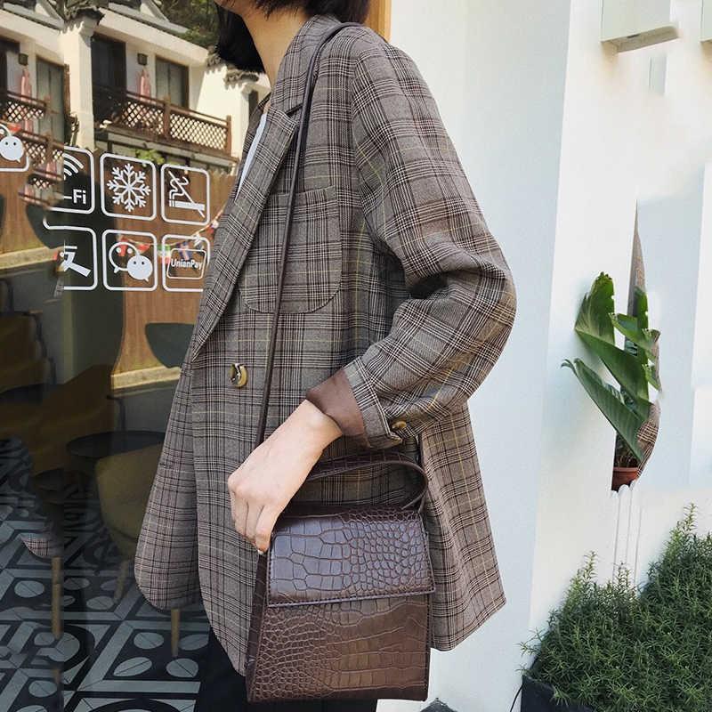 Velero LU mujeres Plaid Blazers otoño 2019 nuevo Retro doble breasted Blazers mujer Daily Casual Suit chaqueta abrigo señoras WWX486