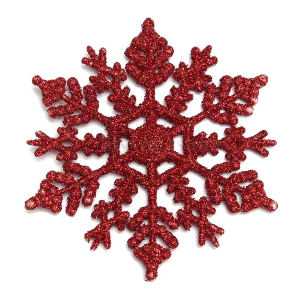 Christmas snowflake ornaments - 6pcs Pack Plastic Glitter Snowflakes Ornaments For Xmas Christmas Tree Window Party Home Decoration
