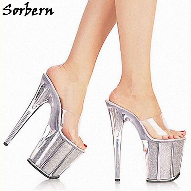 Pantoufles forme 10 Taille Sorbern Dehors Dames Plate Chaton Femmes Designer Chaussures Custom D'été Made Talons Semelle Clair Transparent qwA7E41