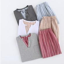New Two Piece Set Plaid Pajama Suit Tops Short Pants Big Size Casual Pyjamas for Men
