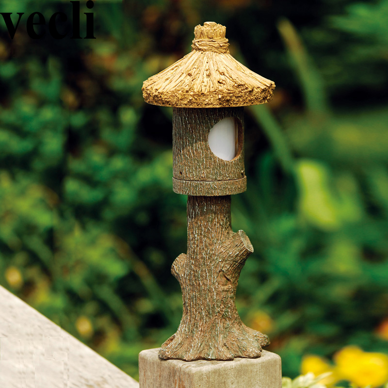 Country style resin led outdoor lamp post lights waterproof Antiseptic countyard garden proyector led exterior