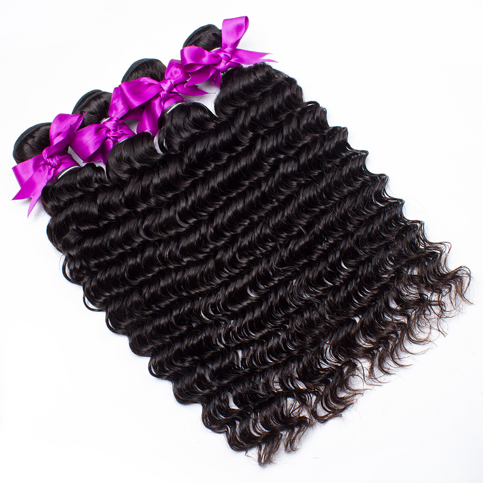 Malaysian Deep Wave 4 Bundles Sleek Vendors 10 To 28 Inch Deals Curly Wet And Wavy Remy Human Hair Extentions Grade 8a Bundles