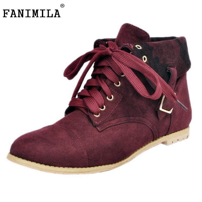 ФОТО Woman Round Toe Flat Ankle Boots Women Suede Leather Lace Up Shoes Ladies Fashion Brand Buckle Style Botas Mujer Size 34-47