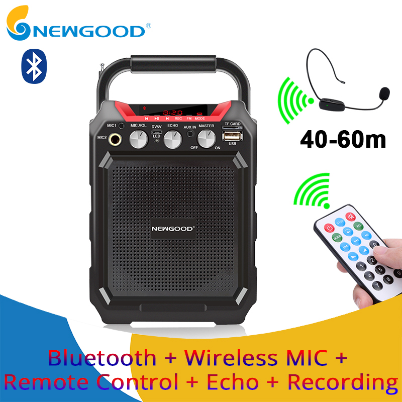 portable wireless voice amplifier with wireless microphone bluetooth speaker megaphone for. Black Bedroom Furniture Sets. Home Design Ideas