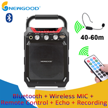 Portable Wireless Voice Amplifier with Wireless Microphone Bluetooth Speaker Megaphone For Teacher Guide TF USB disk Recording