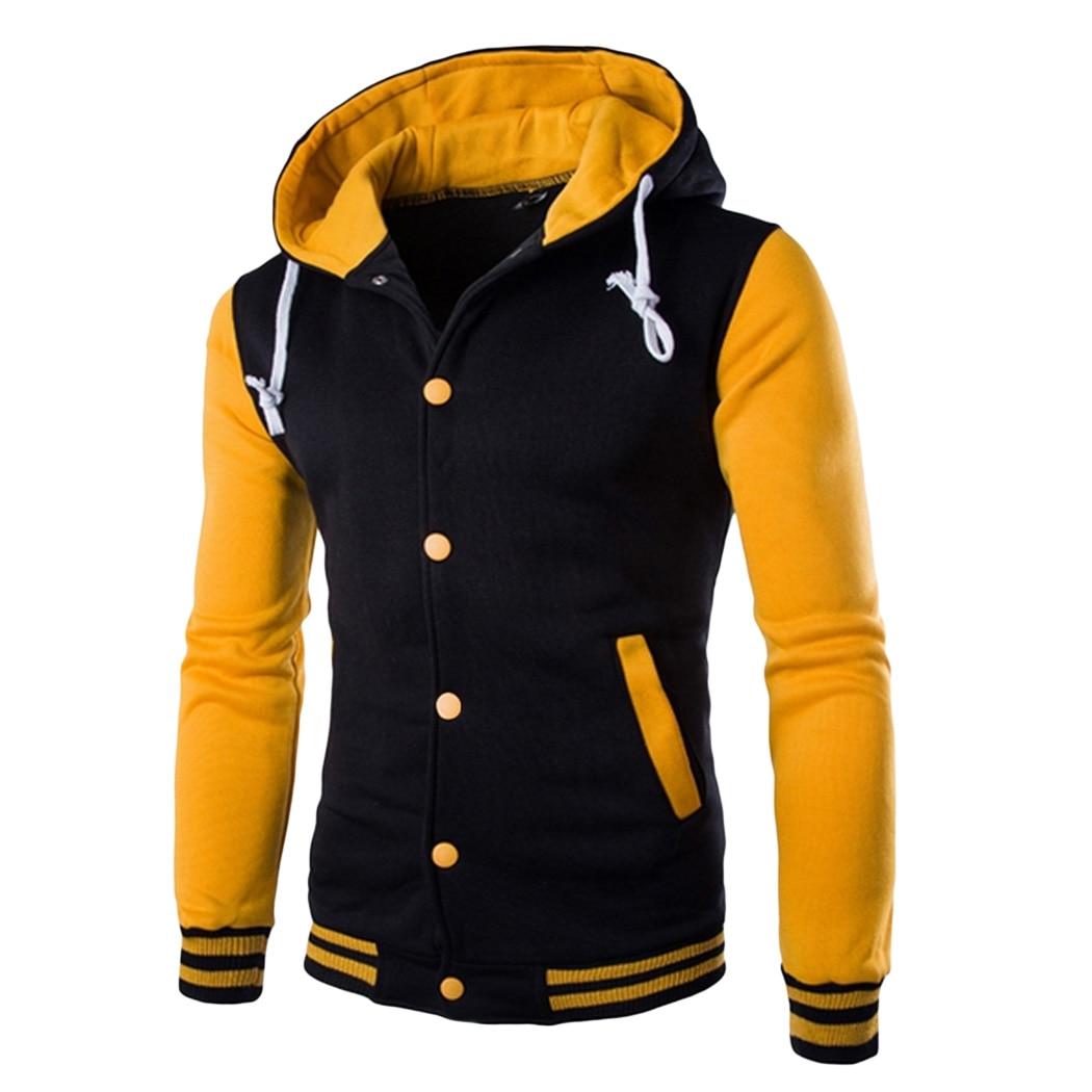 Мода 2016 года Для мужчин с капюшоном Бейсбол куртка Для мужчин зима Тонкий Толстовка Для мужчин S Slim Fit Куртка бренд стильной Колледж jacekt Вест...
