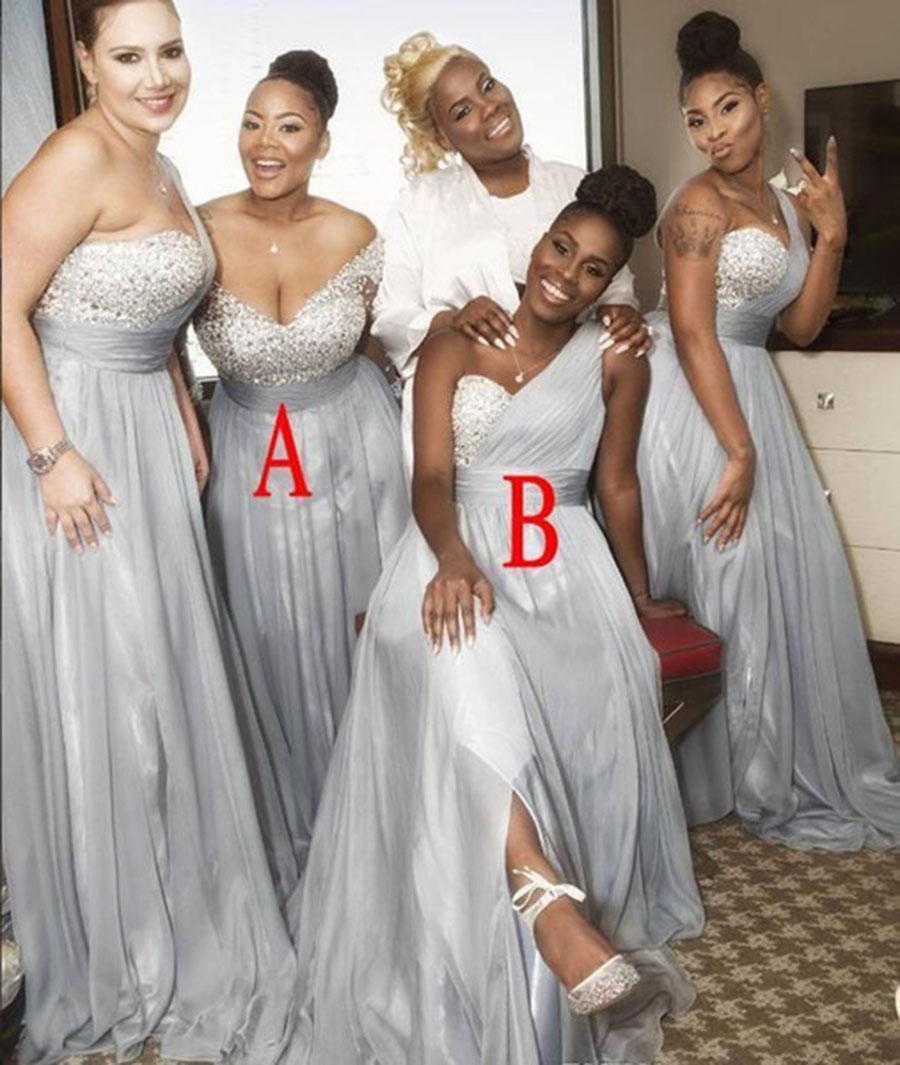 2019 Crystal Beaded   Bridesmaid     Dress   Long Chiffon African Country Formal Wedding Party Guest Maid of Honor Plus Size