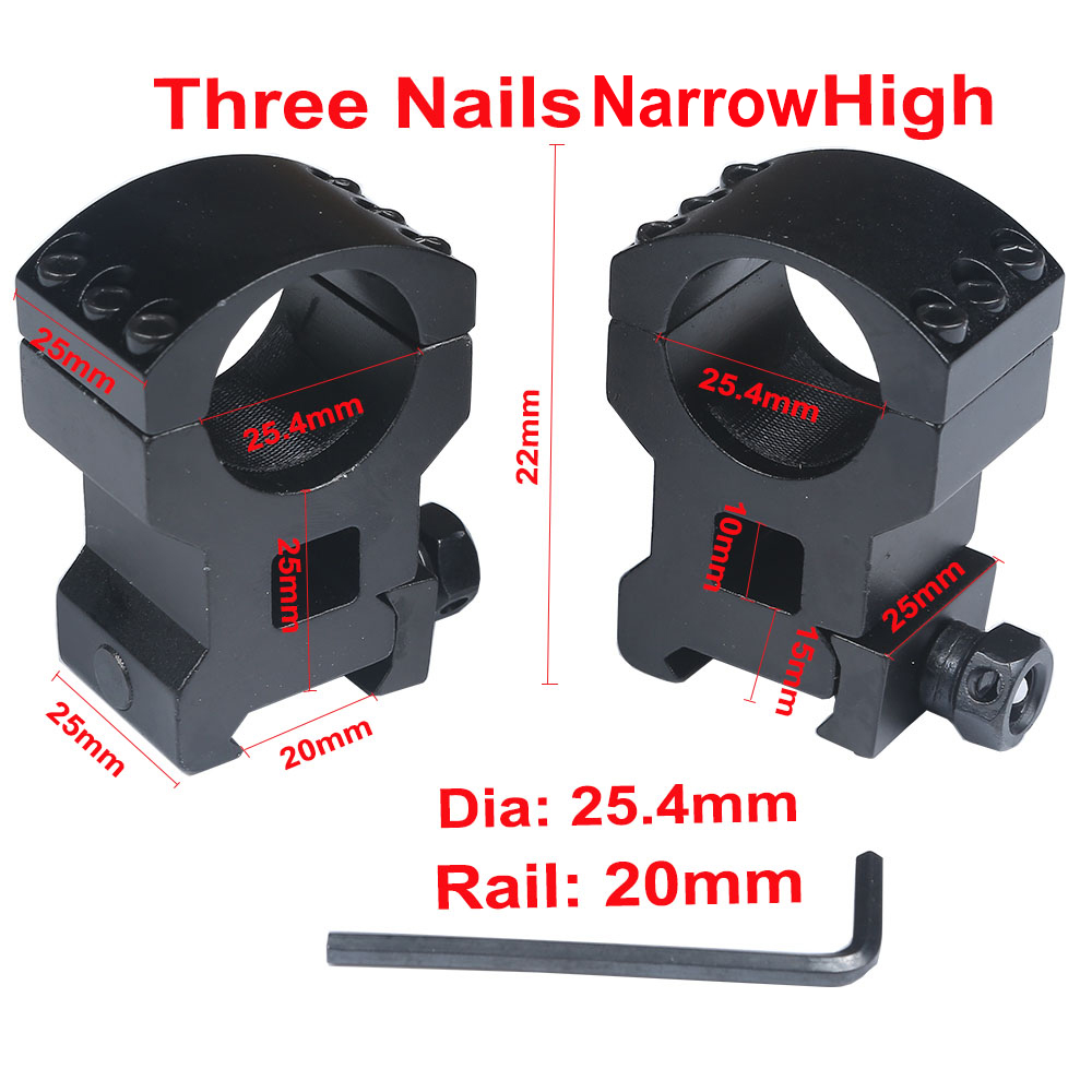 1Pair Scope Mount Low /High Profile 6 Bolts 30mm 25.4mm Ring Weaver 20mm Picatinny Rail Base Rifle Scope Hunting Accessories