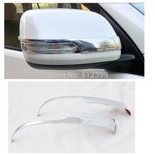 2pcs Chrome Door Rearview Mirror Covers Decoration Stripe Trim For Toyota Prado Land Cruiser 150 FJ150