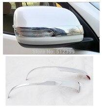 2pcs Chrome Door Rearview Mirror Covers Decoration Stripe Trim For Toyota Prado Land Cruiser 150 FJ150 2014 2015 Car Styling!