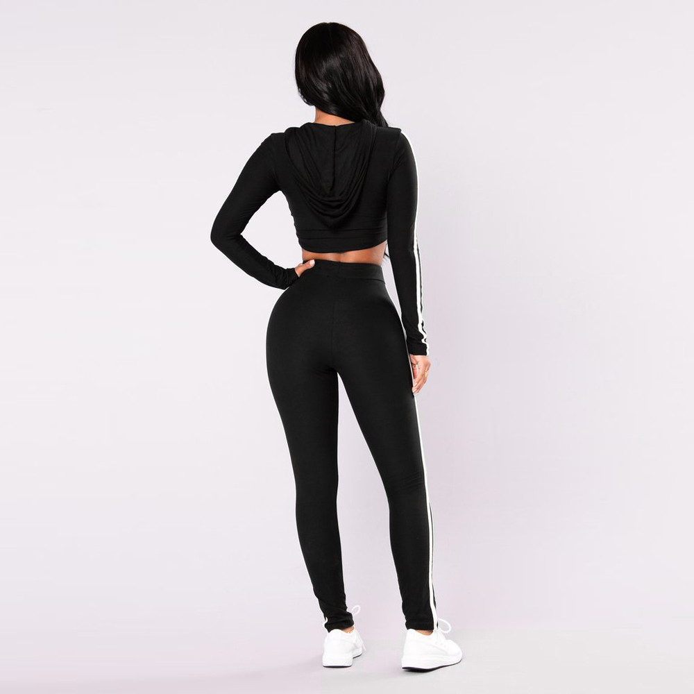 Free Ostrich 2019 two piece set tracksuit Women Pullover side Striped Hoodies Sweatshirt Tops+Pants Wear Casual Sets C1340 2
