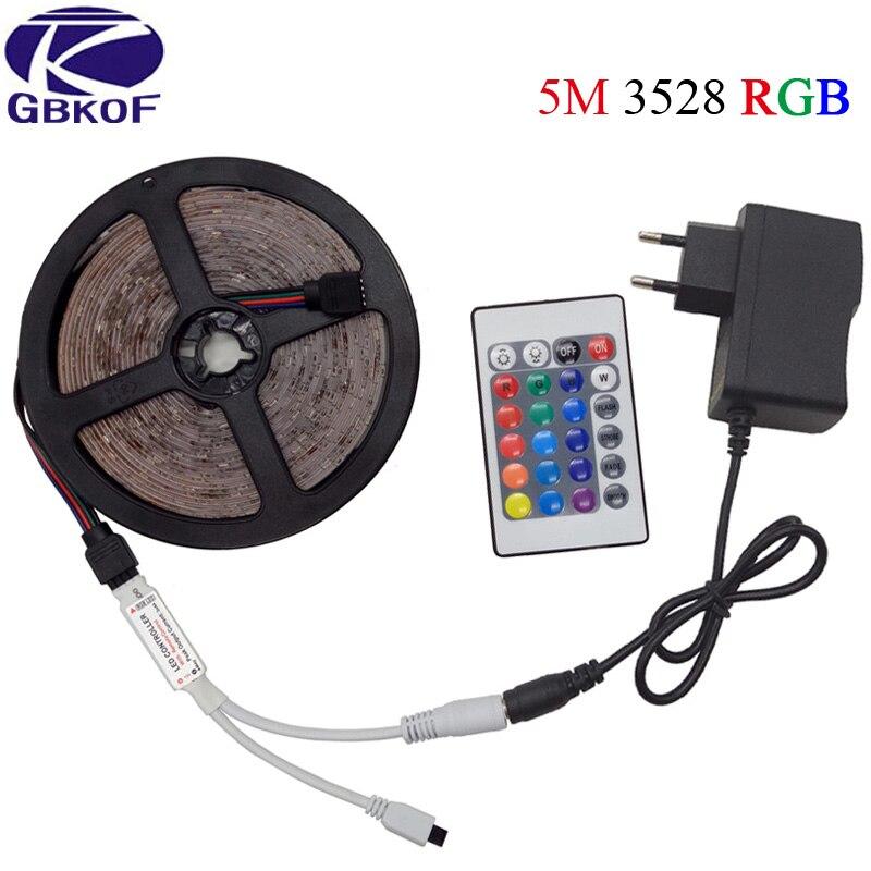 5M/roll SMD3528 2835 DC12V LED Strip light Flexible neon Ribbon RGB Stripe Waterproof led light tape kit+controller power supply