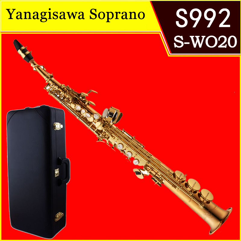 Saxophone Soprano professionnel Original YANAGISAWA S-992 B (B) laque or droite saxo Instruments de musique embout avec étui