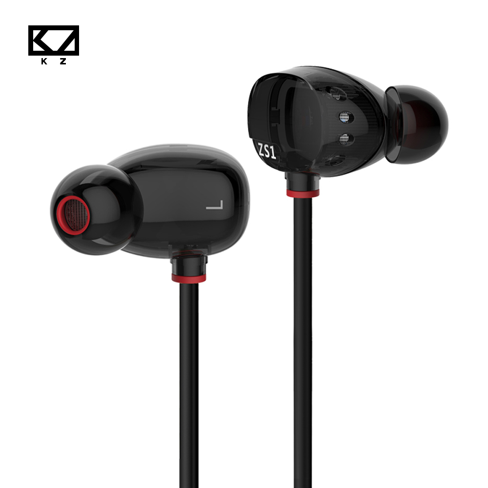 KZ ZS1 Stereo In-Ear Earphone Monitors HIFI DJ Dual Dynamic Driver Earphones with Microphone for SAMSUNG Xiaomi Mp3 kz ates ate atr hd9 copper driver hifi sport headphones in ear earphone for running with microphone game headset