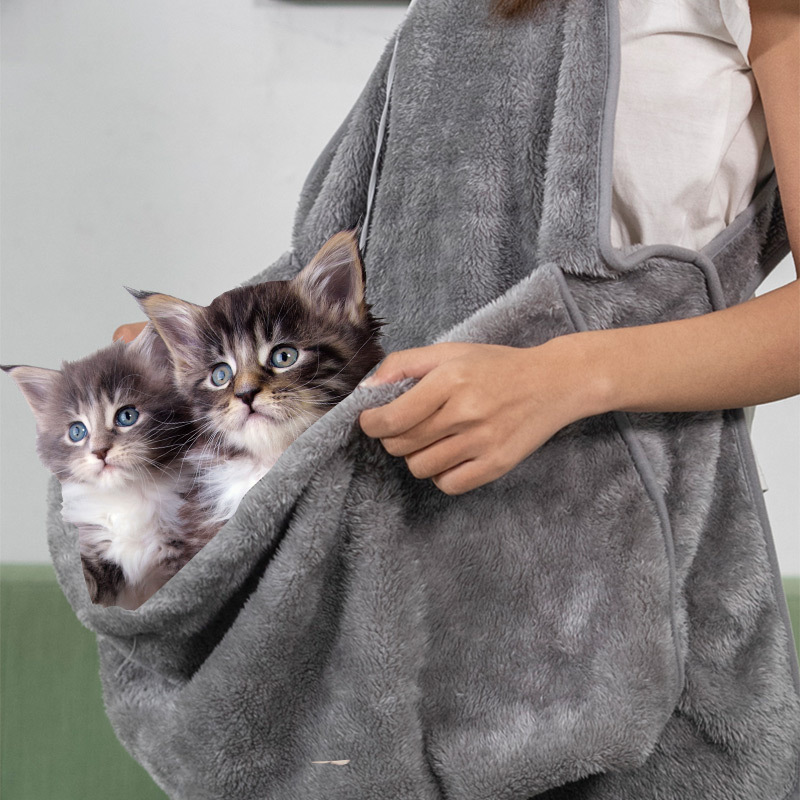 HE Pet Carrier Hug Cat Apron Coral Fleece Anti adhesive Kangaroo Pocket Warm Cat Bag Hands free Cute Home Service in Dog Carriers from Home Garden