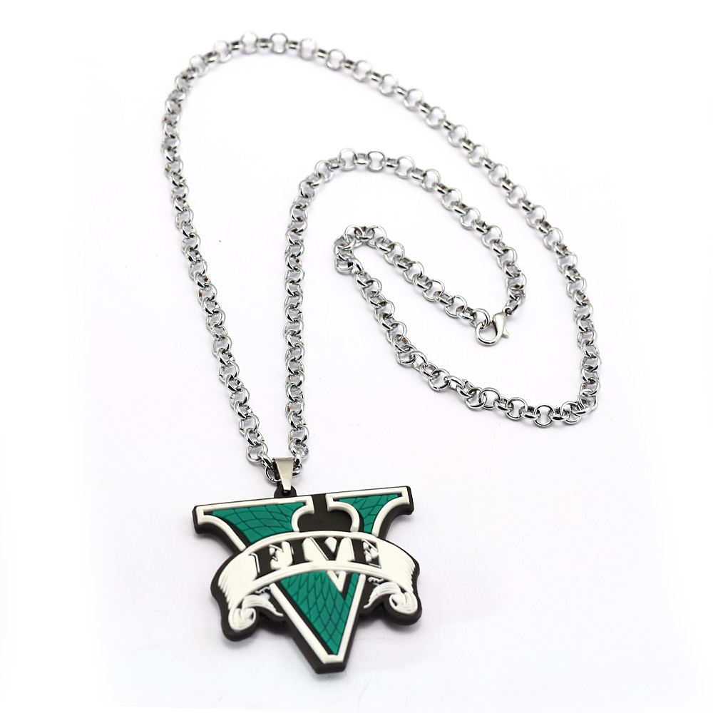GTA5 Necklace Rubber Grand Theft Auto Five GTA 5 V Silicone Green Link Chain Pendant Necklaces Charm Gifts Game Jewelry Ожерелье