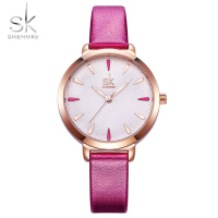 Shengke Women Watches Waterproof Genuine Leather Strap Quartz Watch Women Fashion Top Brand Wristwatch Dress Ladies Watch Pink
