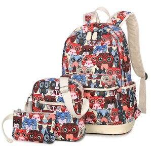 Image 5 - 2020女性動物フクロウ印刷バックパックキャンバスbookbagsスクールバックパック十代の少女bagpack backbag
