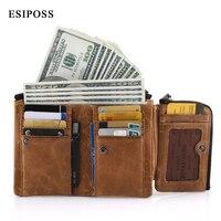 ESIPOSS Genuine Leather Men Wallets Luxury Designer Men Purse Card Holder Bifold Short Purse Clutch Coin Pocket Wallets Carteira