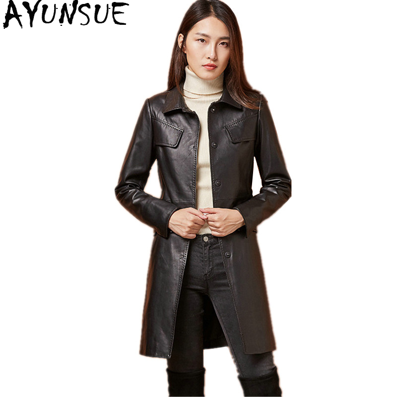 AYUNSUE Genuine Sheepskin Coats 2018 Spring Autumn Real Leather Jacket For Women Long Slim Jackets Trench Coat Female WYQ1212