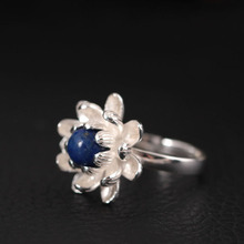 925 Sterling Silver Lapis Lazuli Lotus Flower Open Rings For Women High Quality Fashion Style Lady Sterling-silver-jewelry