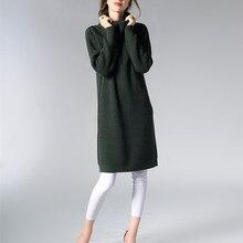 Новинка 2017 года Осенне-зимняя Дамская обувь платье свитер вязаный Платья для женщин тонкий эластичный Водолазка с длинным рукавом Леди Повседневное халат Платья для женщин Vestidos